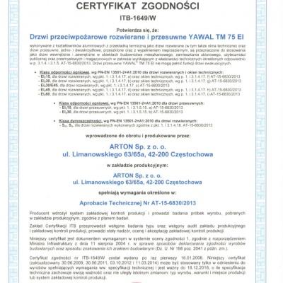 Certyfikat zgodności ITB - 1649