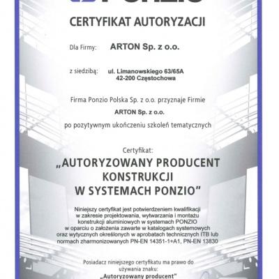Certyfikat Autoryzacji PONZIO